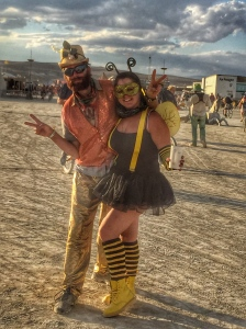 sometimes you gotta dress like a bee and hand out honey sticks to weary passersby